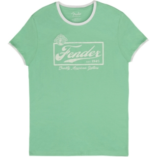 Fender Beer Label Ringer T Sea Foam Green/White XL