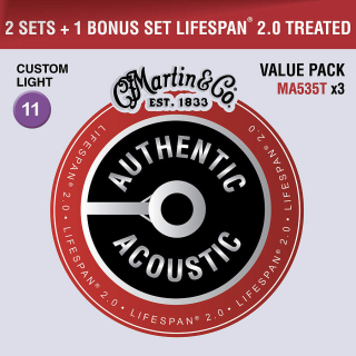 Martin Authentic Lifespan 2.0 92/8 Phosphor Bronze Custom Light - Limited 3 Packs
